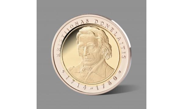 Kristijonui Donelaičiui, lietuvių literatūros pradininkui, skirtas paauksuotas medalis