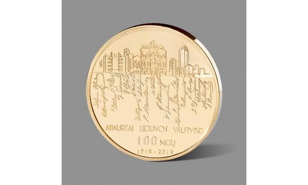 Lietuvos valstybės atkūrimo šimtmečiui skirtas paauksuotas medalis