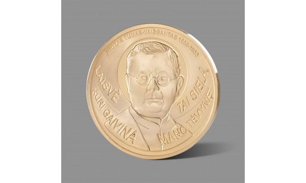 Juozui Tumui - Vaižgantui skirtas paauksuotas medalis
