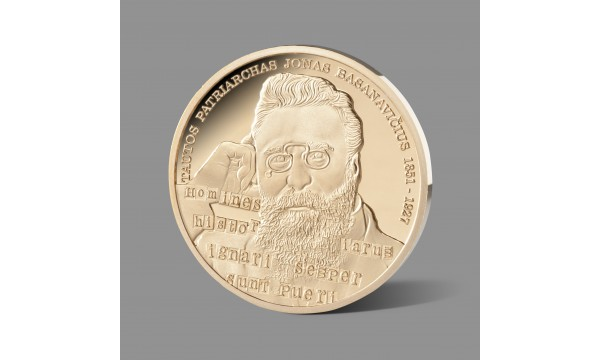 Lietuvių tautos patriarchui Jonui Basanavičiui skirtas paauksuotas medalis
